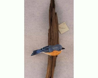 Bluebird - right facing. Handcrafted, carved  wooden bird, painted bird, home decor, wall decor, Made in USA