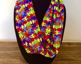 Autism awareness infinity scarf, autism awareness scarf, autism awareness accessories, puzzle piece scarf