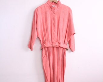Pleated Flamingo Pink 90s Midi Dress