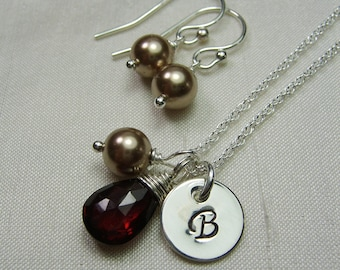Bridesmaid Jewelry Set Sterling Silver Initial Necklace Birthstone Pearl Bridesmaid Necklace Earrings Set Personalized Bridesmaids Gifts