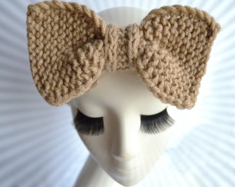 Knit beige headband women wool big bow headband adult women knit ear warmer headwrap boho turban headband hair band women beige headwear