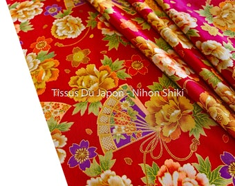 Red Japanese fabric - fabric flower - red fabric - fabric flower - floral fabric - fabric - fabric fat quarter of 50x50cm TU177