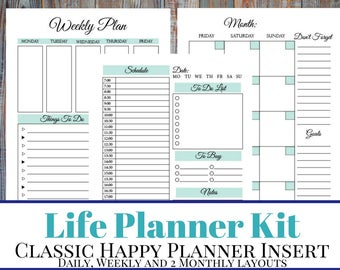 Life Planner Printable Kit: Hourly Daily Planner, Weekly Planner, Monthly Planner Printable Inserts  - Classic Happy Planner Insert, Blue