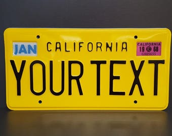 California Retro Vintage US USA License Plate Custom Embossed Alu Made in Germany Express Shipping + Boxes for dates + stickers