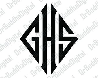 Sale! Diamond Monogram Font SVG Collection 2 - Diamond Monogram Alphabet DXF - Clipart - SVG Files for Silhouette Cameo or Cricut