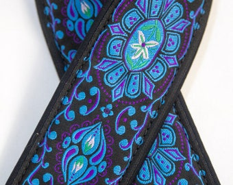 "Custom Padded Camera Strap 2"" Wide Flower Medallion Blue on Black"