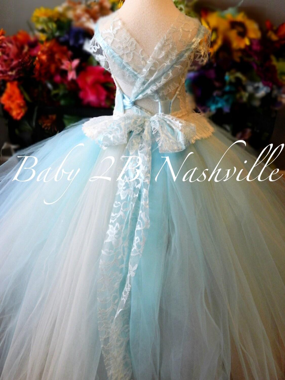 Blue Dress Ivory Lace Dress Cameo Lace Aqua Blue Dress Toddler Tutu ...