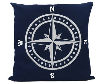 "New Fabric - Compass - Nautical Embroidered Pillow Cover - Fits 18""x18"" Insert - Navy - Beach / Coastal / Nursery Decor (READY TO SHIP)"