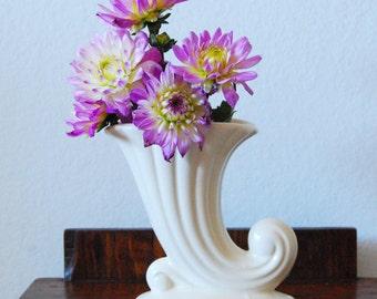 White Mid Century Conucopia Vase