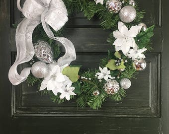 Christmas Wreath Silver and White