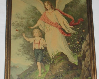 Large Rare Victorian Print of Guardian Angel Protecting the Distracted Boy from Dangerous Cliff & Sneaky Serpent