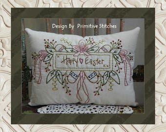 Happy Easter-Primitive Stitchery  E-PATTERN by Primitive Stitches-Instant Download