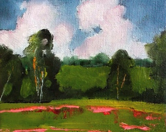 Miniature Landscape Impressionist Painting 4x4 Plein Air Landscape California MEADOW WILDFLOWERS Lynne French