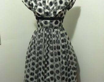 1950s black and white polkadot chiffon day dress or party frock