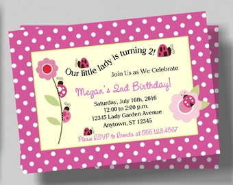 Ladybug Birthday Invitation for Girls | Pink Polka Dot Ladybug Invitation | Printable Digital File | 1st 2nd 3rd Birthday Invitation Girls