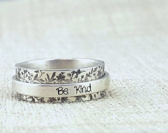 Personalized Ring -  Inspiration -  Spinner Ring  -  Silver Jewelry - Personalized Graduation Gift - Custom Ring - Worry Ring - Stay Humble