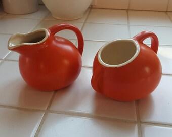 Orange Pottery Creamer and Sugar Set