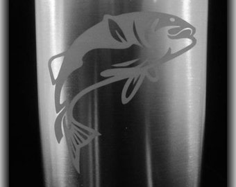 Custom Etched Personalized  Fishing Flask -  8oz Stainless Flask with Funnel by Jackglass on Etsy