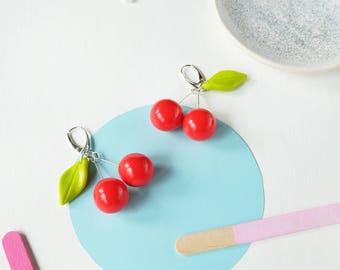 Cherry earrings - fruit earrings - Red berry earrings - Red dangle earrings - 50s style earrings - pinup jewelry - polymer clay earrings