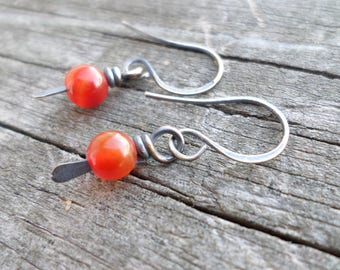 Oxidized Sterling Silver Orange Agate Paddle Earrings with Handmade Gift pouch