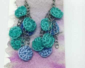 Crochet cascade dangle circle blue teal turquoise earrings bridesmaid valentines day Mother's Day gift for her