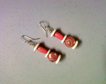 Ivory, Pink and Beige Earrings (1329)