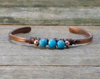 Narrow Hammered Copper and Turquoise Cuff, Arthritis Bracelet, Copper Bracelet
