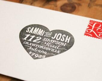 Heart Return Address Stamp, Wedding Invitation Stamp, Custom Rubber Stamp, Newlywed Gift, Personalized Gift, Custom Stamp, Love Stamp