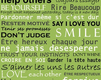 """Bilingual Family Rules English and French Subway Art Download 16"""" x 20"""", 11"""" x 14"""", 8"""" x 10"""", 16x20, 11x14, 8x10"""
