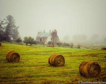 Old Barn Photo, Nature Photography, Fine Art Print, Rural Wisconsin, Shades of Green, Moody, Foggy Morning, Hay Bales, Rustic, Country Style