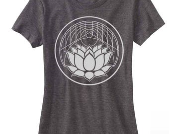 Women's LOTUS Flower Tee Sacred Geometry Shirt