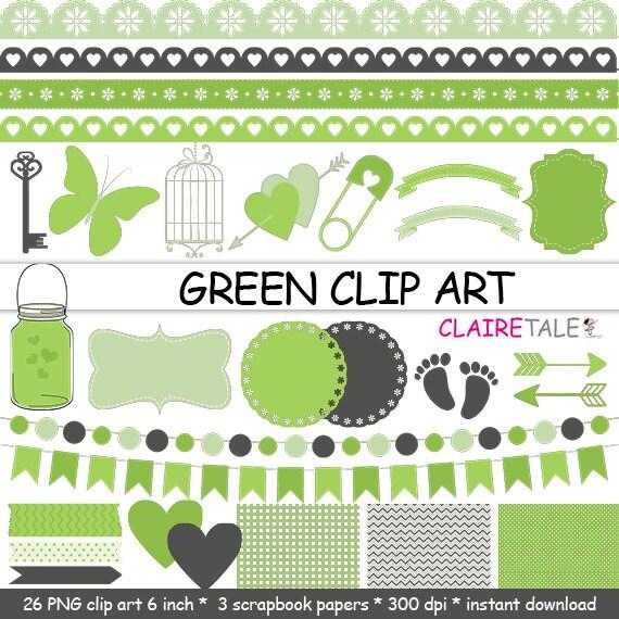 "Digital ""GREEN CLIP ART"" frames, labels, ribbons, borders, flags, arrows, butterfly, lights, hearts, mason jar, key, bird cage, baby shower"