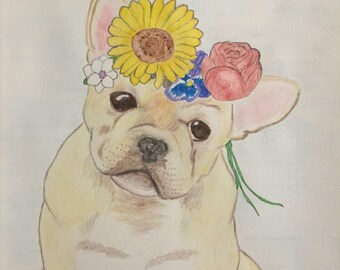 Original Watercolor Pencil Art French Bulldog Flower Crown One of a Kind 9 x 12 Painting/ Drawing