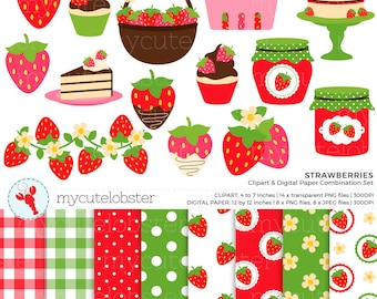 Strawberries Clipart & Digital Paper Set - strawberry clip art set, jam, cake, berry - personal use, small commercial use, instant download