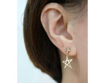 Star Earrings, Gold Star Earrings, Pave Star Earrings, Rhinestone Star Earrings, Double Star Earrings, Star Jewelry, Star Dangle Earrings