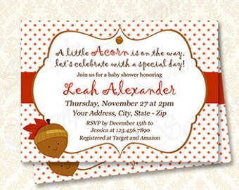 Boho Cute Little Acorn Baby Shower Invitations, Printable Woodland Theme Shower Invites, Rustic Gender Neutral Shower, Digital Download