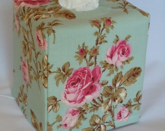 "Ready To Ship - ""Rose Print on Light Pastel Teal Background "" -  Tissue Box Cover"