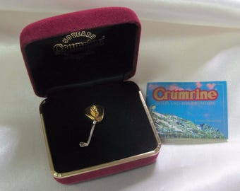 Vintage Crumrine Western Cowboy Golf Sport Hat Pin Tie Tack Clasp Clip Jewelry New In Box
