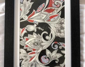Hand drawn design, pen and ink. Framed.