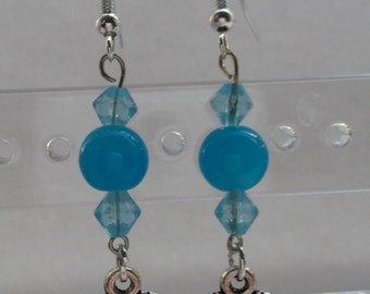 Blue earrings with a heart (metal charm)