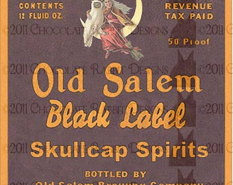 Vintage Halloween Witch Potion Bottle Label Digital Download Printable Clip Art Image Skullcap Spirits
