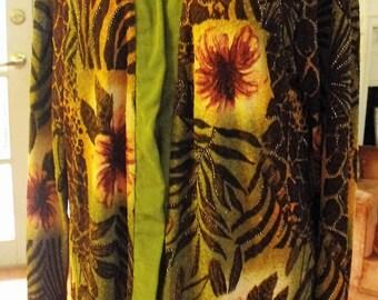 Vintage Jacket/Tropical Print Jacket/Size L-1X Jacket/Retro Jacket/Faux Beading Jacket