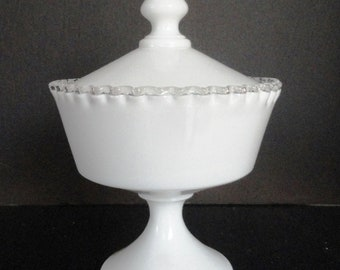 """Fenton Silver Crest Covered Candy Dish Milk Glass Perfect Condition 9.5"""" tall"""