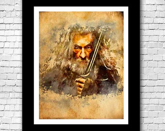 Lord of the Rings Gandalf Watercolor Print - Buy 2 Get 1 FREE