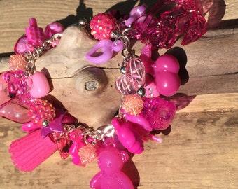 Pink bracelet Crackerjack Bracelet Pink gumball charm bracelet cha cha bracelet Valentine  heart charm Pink October Breast Cancer Awareness