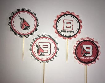 Ball State University - 12 cupcake toppers