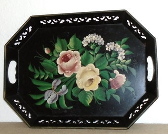 Vintage ROSES Hand Painted Tole Reticulated Tray Shabby French Prairie Cottage Farmhouse Chic