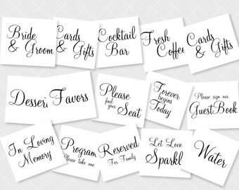 Elegant Wedding Sign Collection - Instant Download - 15 Matching Wedding Signs - 5x7 - Printable - DIY Wedding - Signage