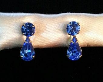 DAZZLING Teardrop Royal Blue Rhinestone Earrings