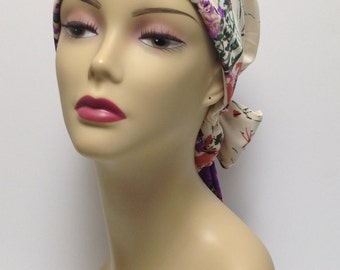 Women's cancer hats, wraps, and scarves. Adjustable hats. Beautiful floral hats. Chemo caps.  Head coverings.  Size M 22-23 inches.